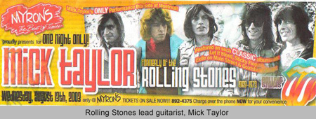 Rolling Stones lead guitarist, Mick Taylor
